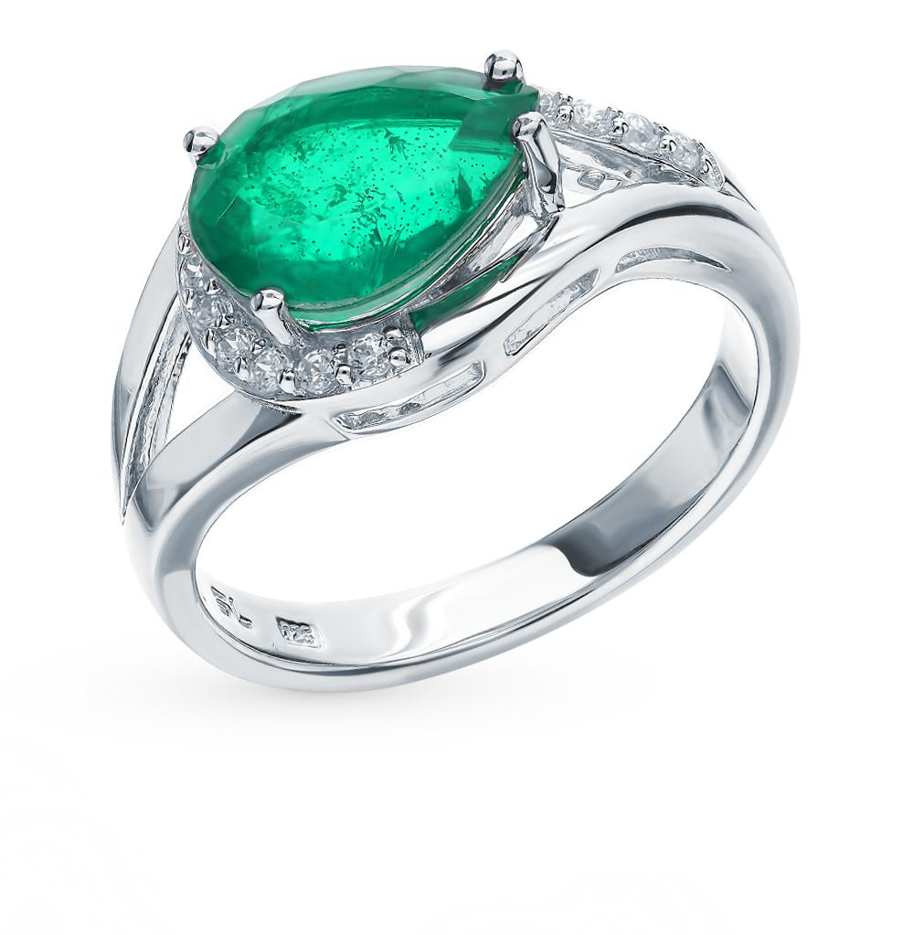 серебряное кольцо с фианитами и изумрудами