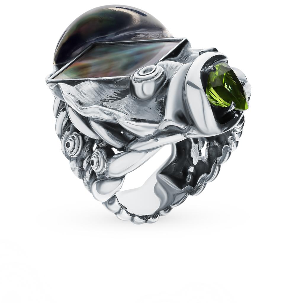 Фото «Серебряное кольцо с хризолитом и перламутром»