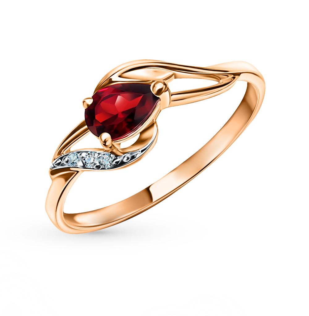 Золотое кольцо с гранатом и бриллиантами в Санкт-Петербурге