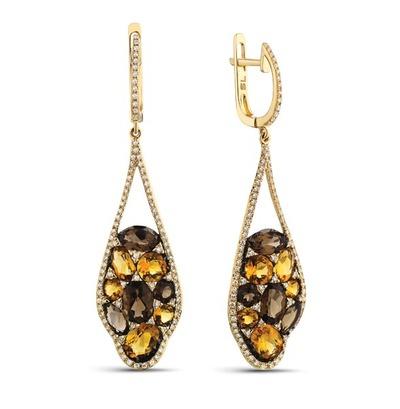 Фото «Золотые серьги с цитринами и бриллиантами»