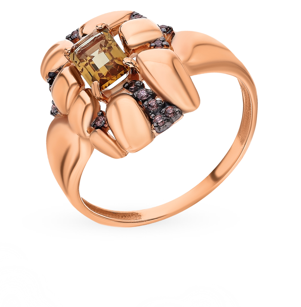 Фото «Золотое кольцо с султанитами и фианитами»