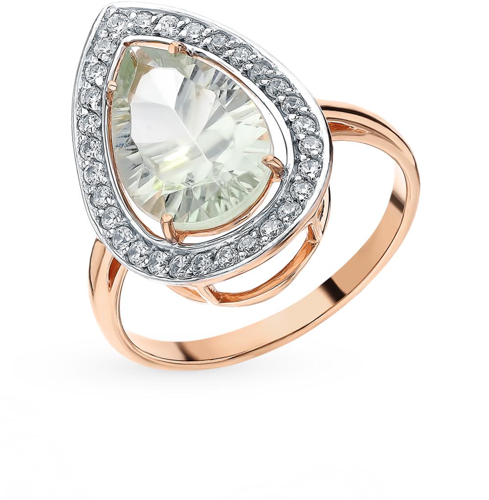 Фото «Золотое кольцо с аметистом, фианитами и аметистами зелёными»