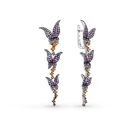 Фото «золотые серьги с аметистом, сапфирами и бриллиантами»