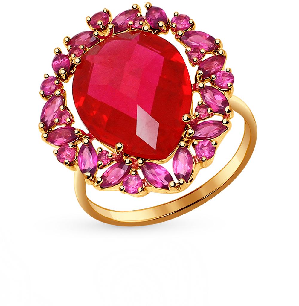 Фото «золотое кольцо с родолитами и корундами синтетическими»