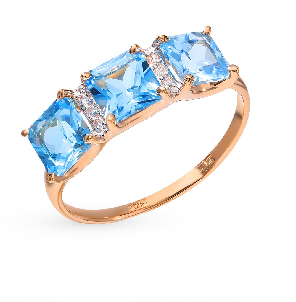 золотое кольцо с топазами и фианитами SOKOLOV 715022*
