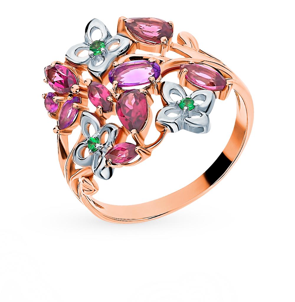 золотое кольцо с родолитами, аметистом и цаворитами
