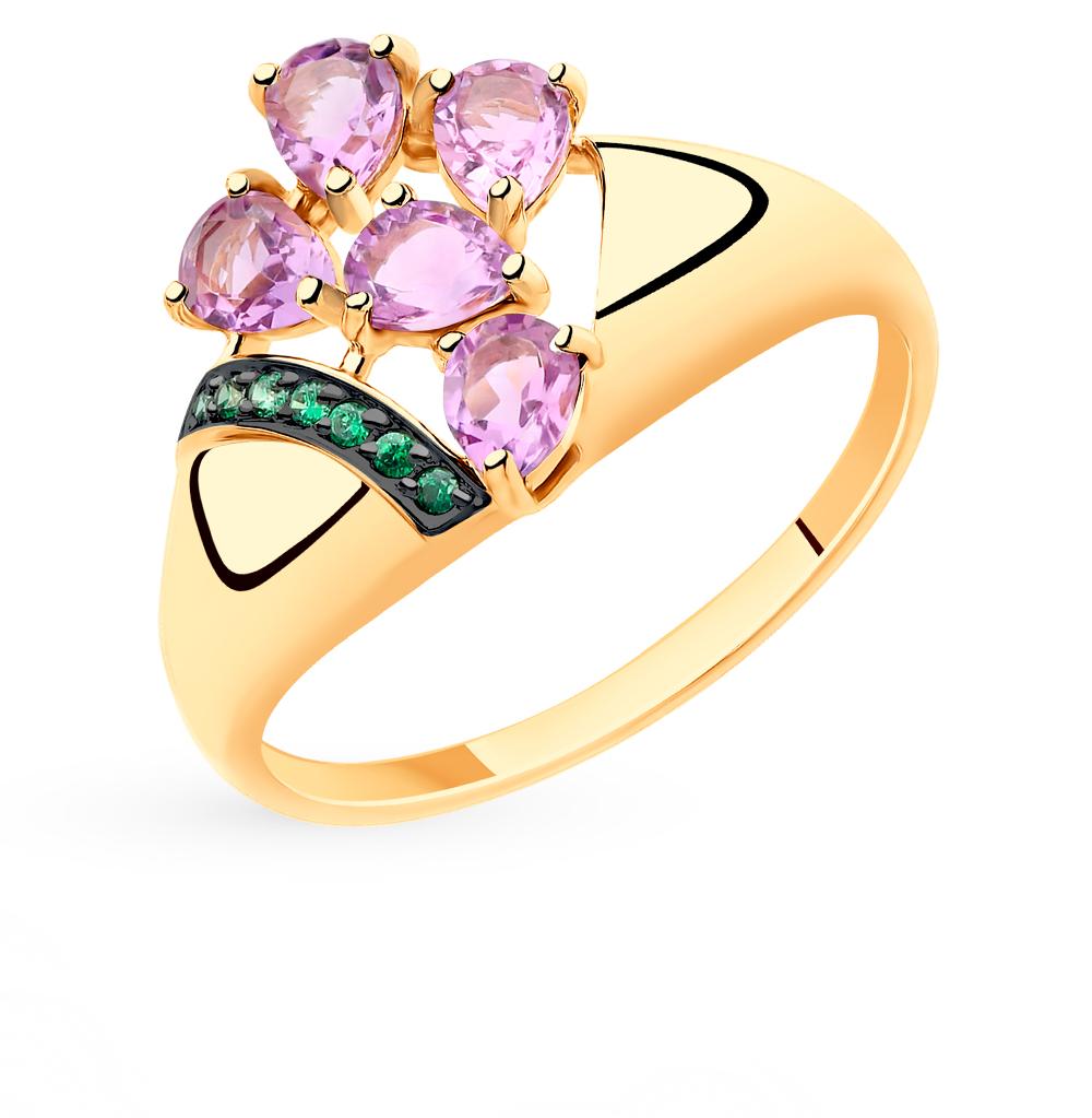 Золотое кольцо с аметистом и фианитами SOKOLOV 715492* в Екатеринбурге