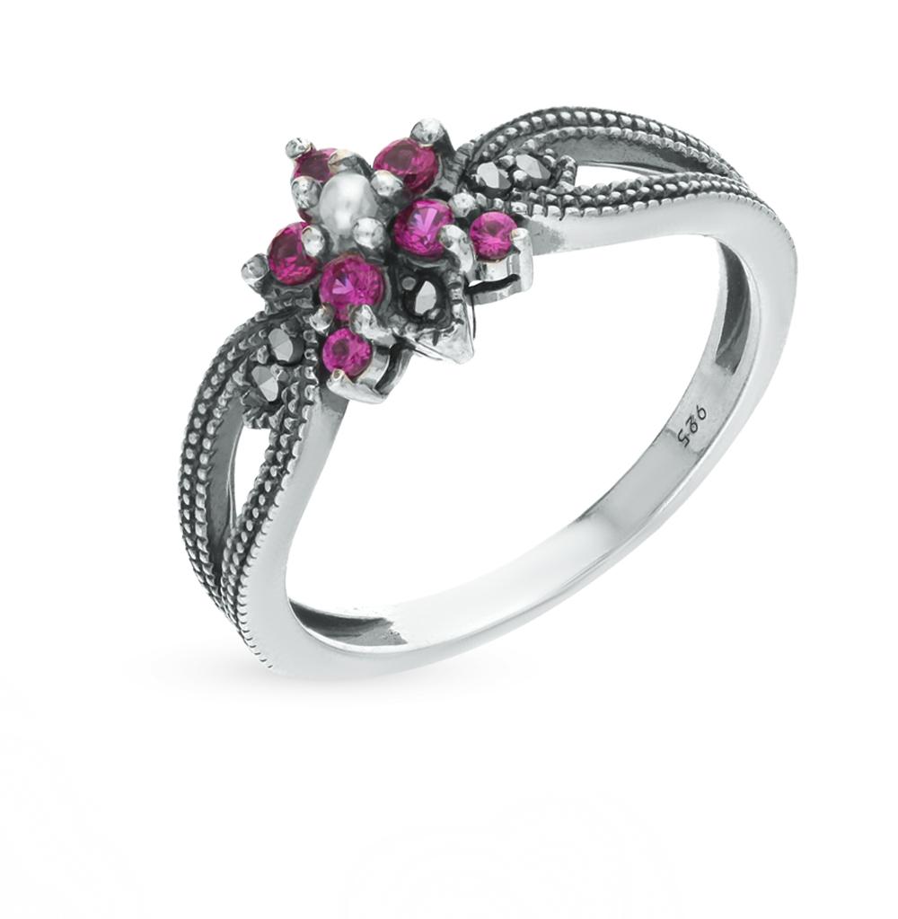 Фото «серебряное кольцо с марказитами, жемчугом и сапфирами синтетическими»