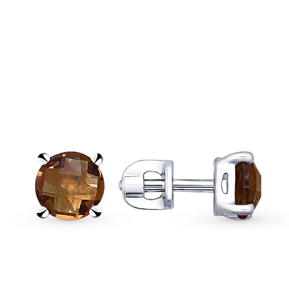 Фото «серебряные серьги с раухтопазами (кварцами дымчатый)»