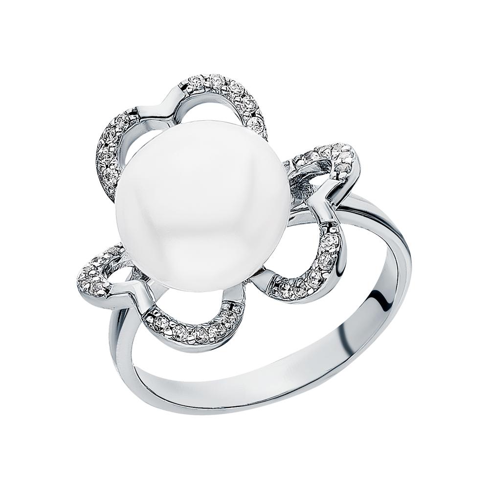 Серебряное кольцо с фианитами и жемчугами культивированными в Екатеринбурге