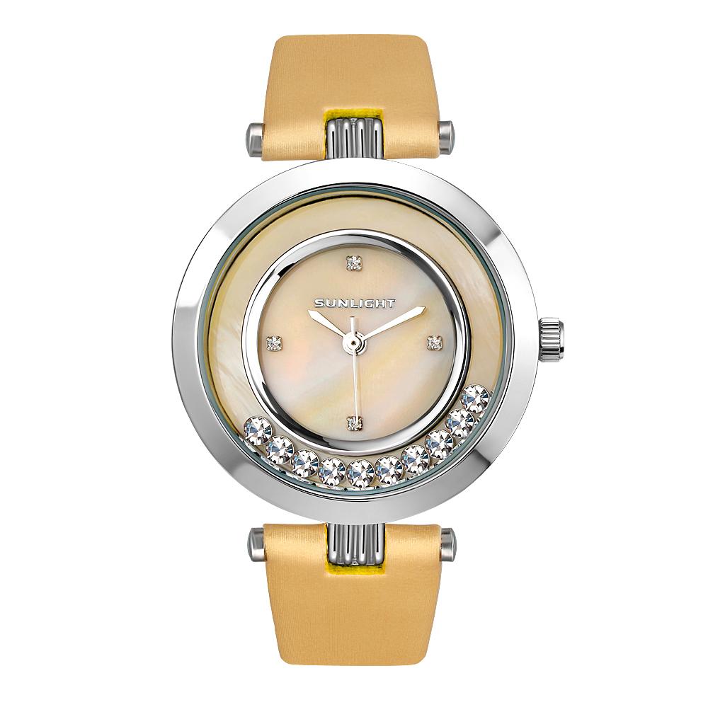 Женские часы с перламутром и танцующими кристаллами на сатиновом ремне