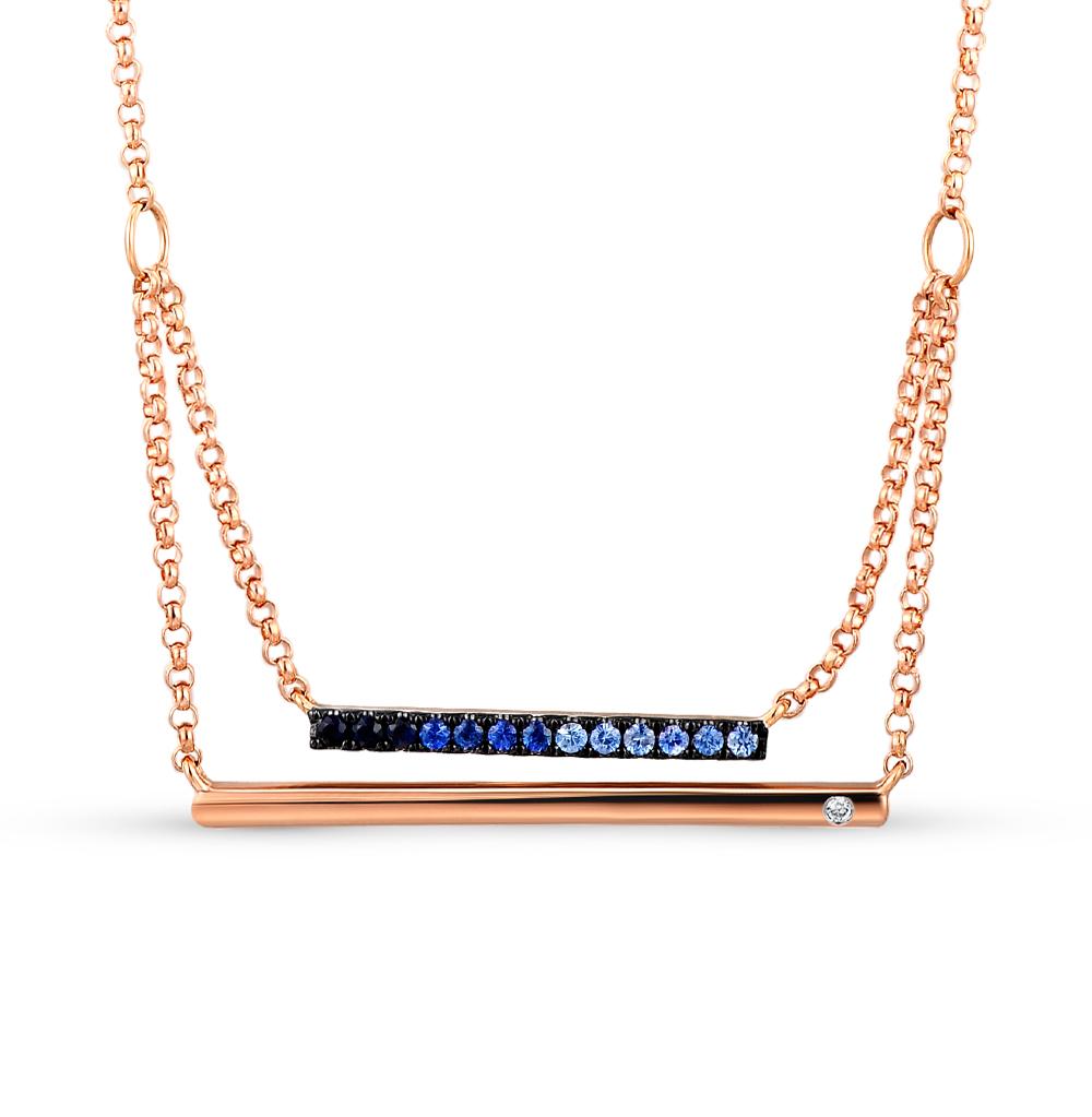 Фото «Золотое шейное украшение с сапфирами и бриллиантом»
