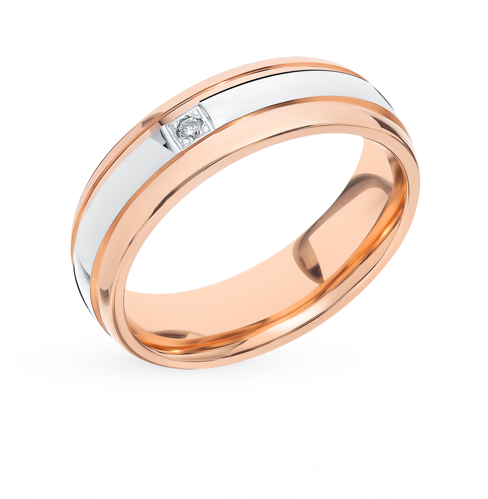 Золотое обручальное кольцо с бриллиантом в Санкт-Петербурге