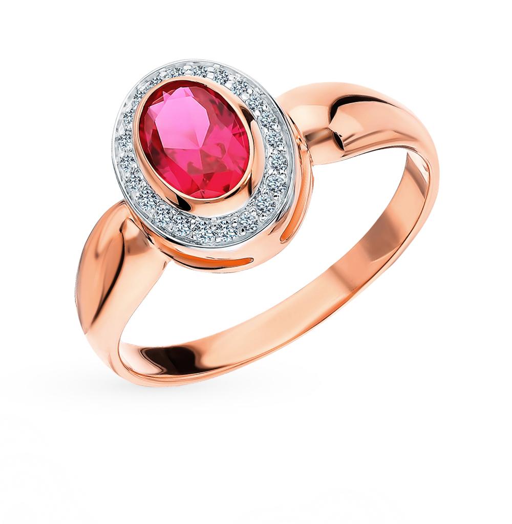 Фото «Золотое кольцо с рубинами синтетическими и бриллиантами»