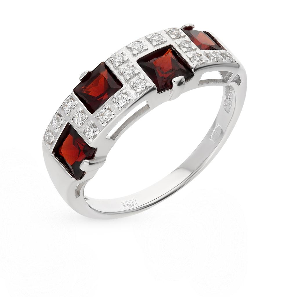 Фото «Серебряное кольцо с фианитами и гранатом SOKOLOV 92010030»