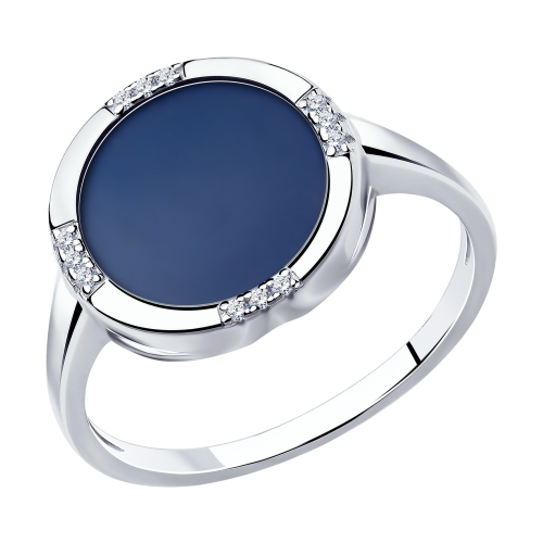 Серебряное кольцо с керамикой и фианитами SOKOLOV 94014589 в Екатеринбурге