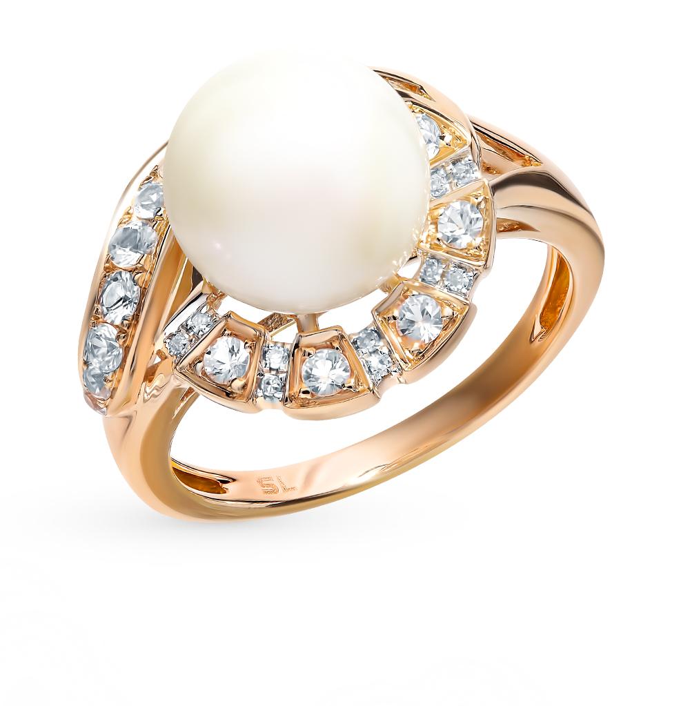 золотое кольцо с сапфирами, жемчугом и бриллиантами