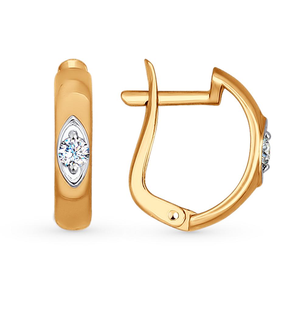 золотые серьги с фианитами SOKOLOV 027141*