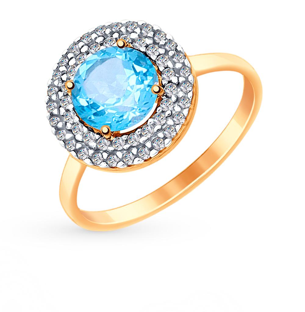 Фото «Золотое кольцо с топазами и фианитами SOKOLOV 714972*»