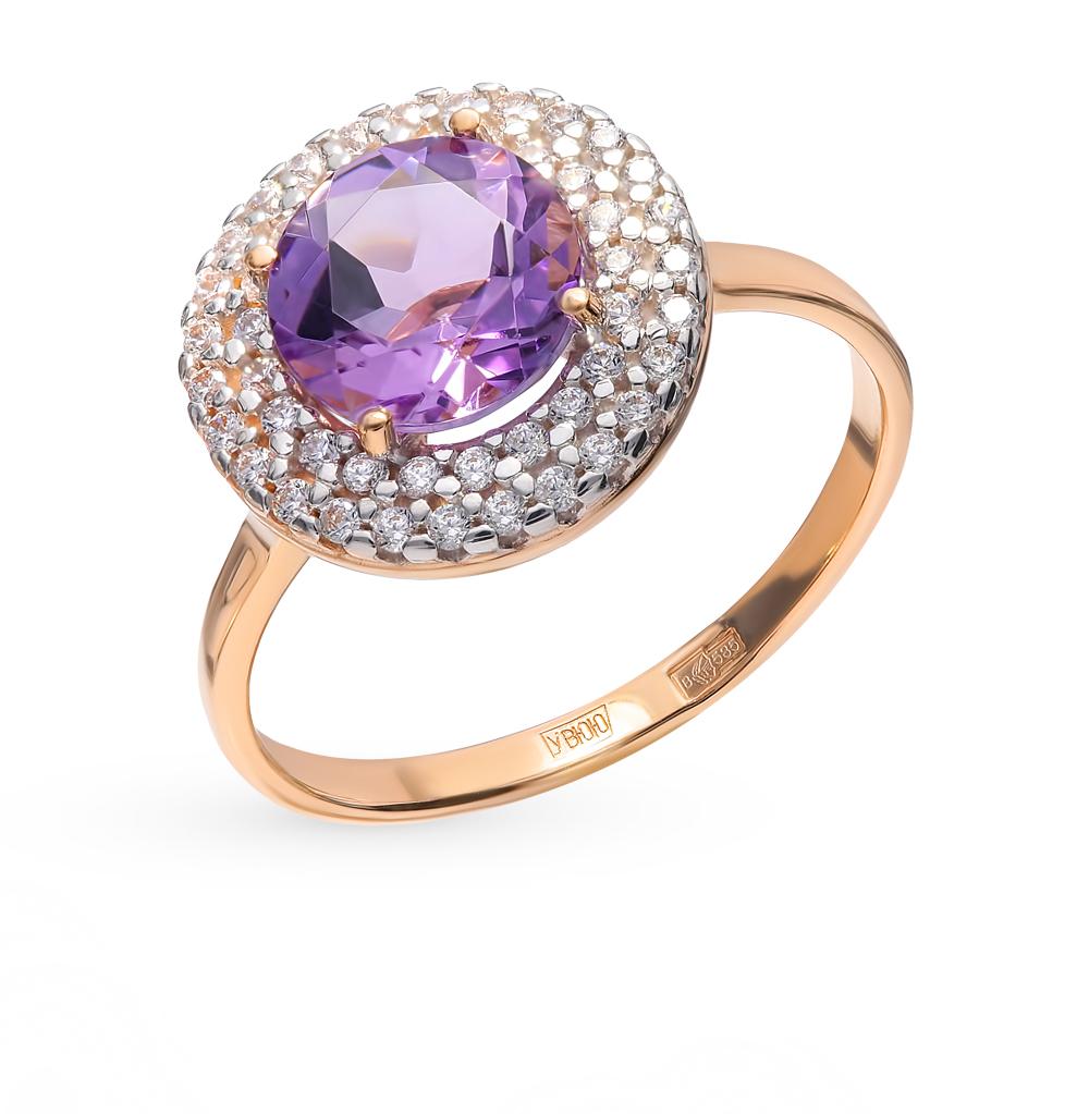 Фото «Золотое кольцо с аметистом и фианитами SOKOLOV 714975*»