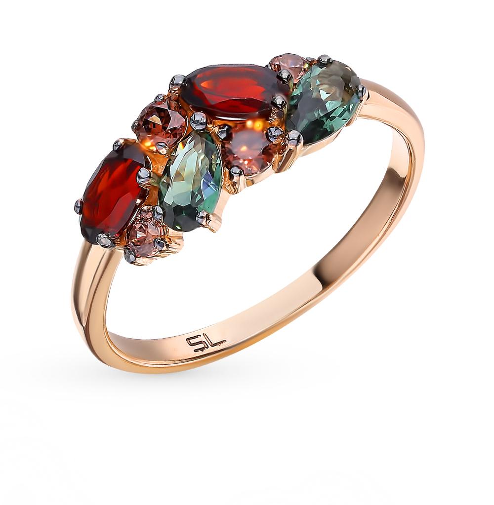 Фото «Золотое кольцо со шпинелью, фианитами и гранатом»