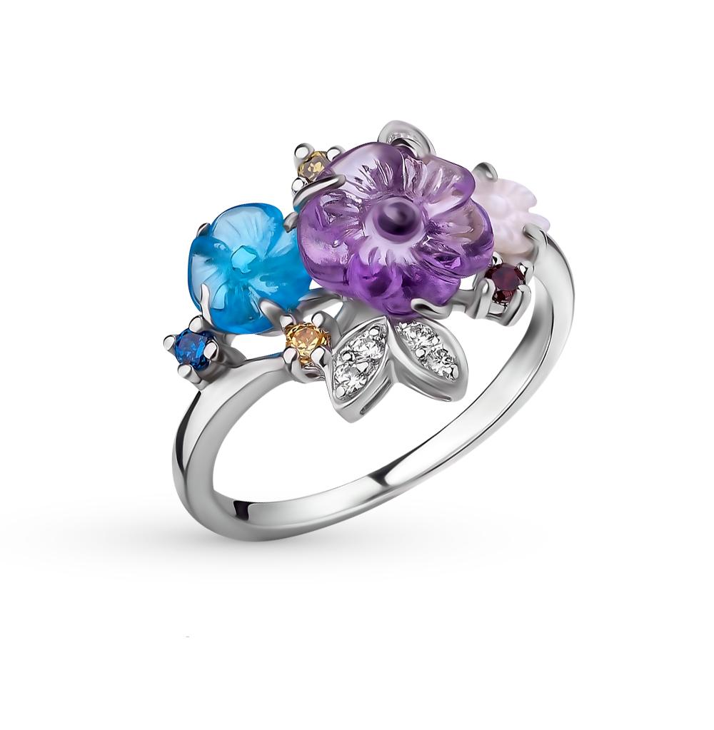 Фото «серебряное кольцо с аметистом, топазами, фианитами и перламутром»