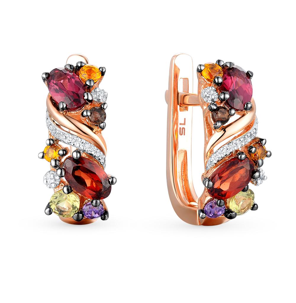 Фото «золотые серьги с аметистом, гранатом, цитринами, кварцем, хризолитом и бриллиантами»