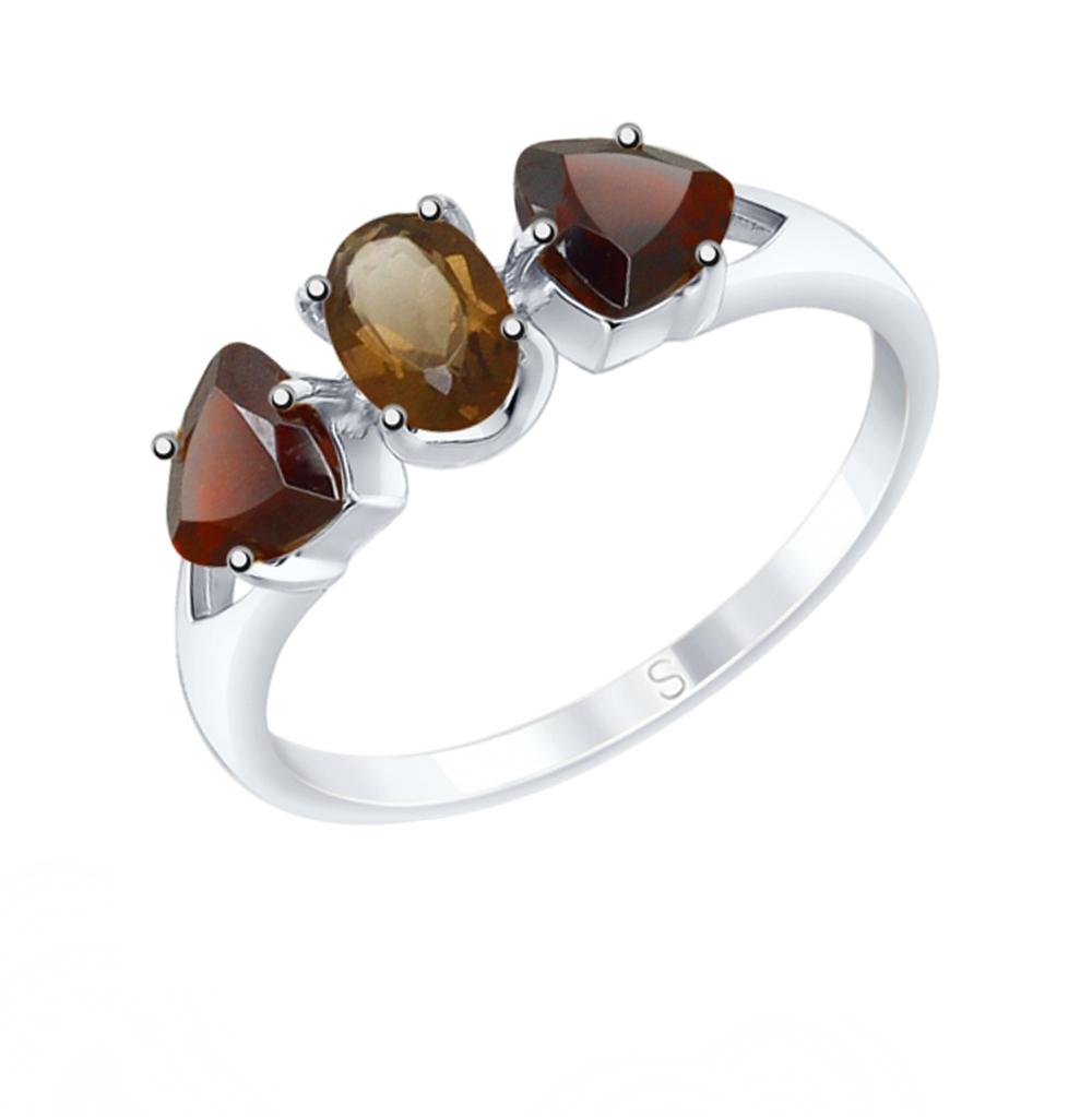 серебряное кольцо с раухтопазами и гранатом SOKOLOV 92011589
