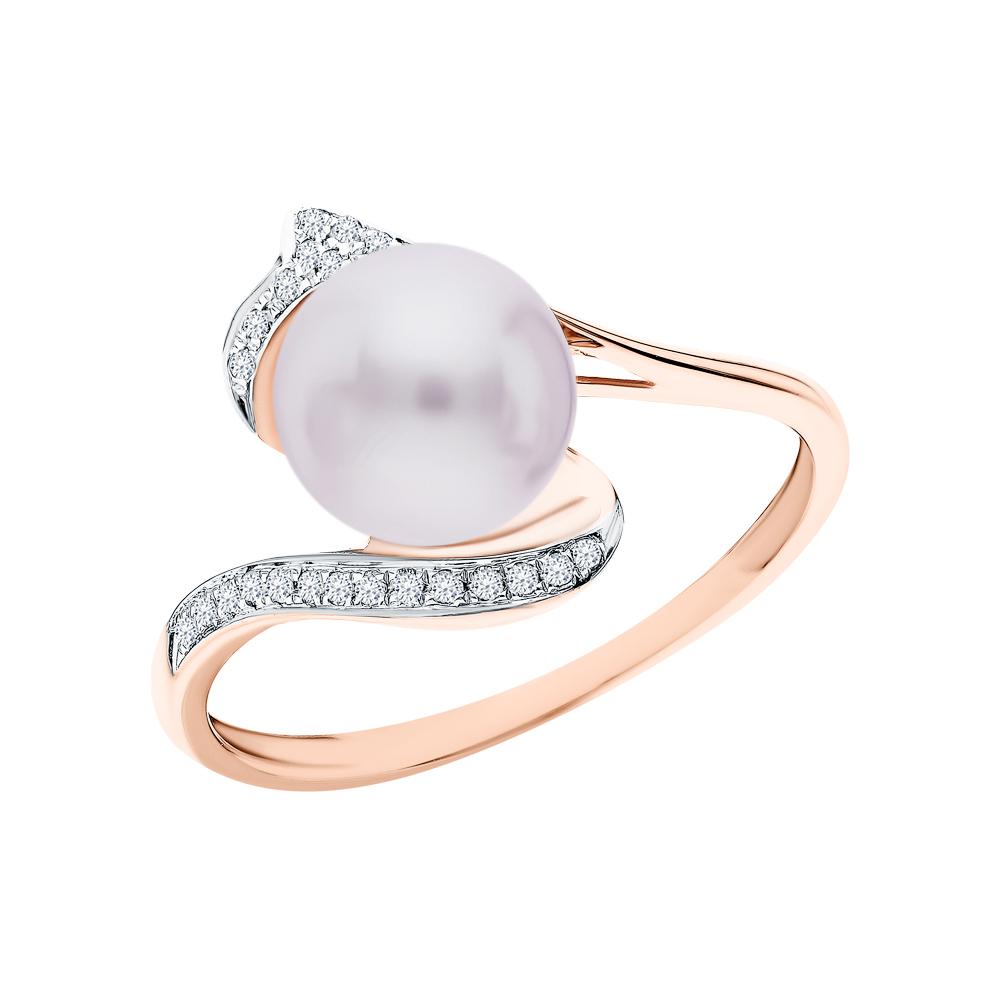 Фото «Золотое кольцо с жемчугами культивированными и бриллиантами»