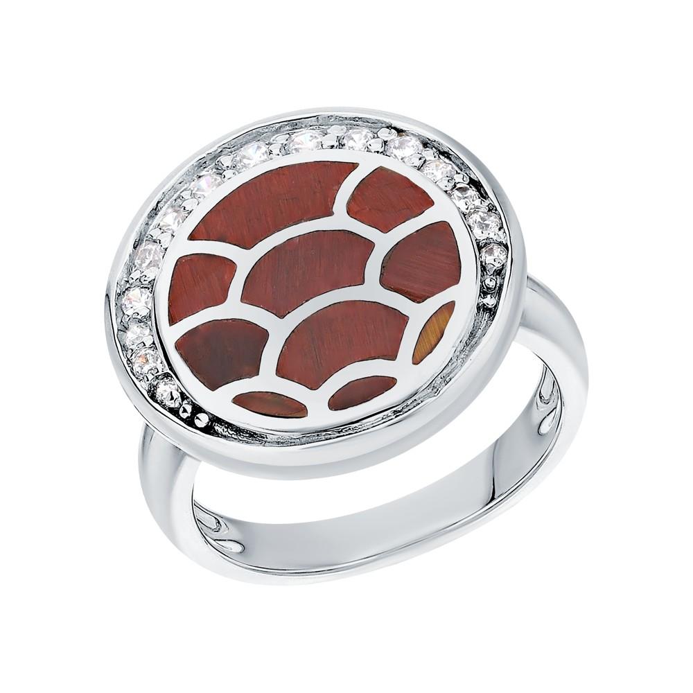 Серебряное кольцо с фианитами и перламутром в Екатеринбурге