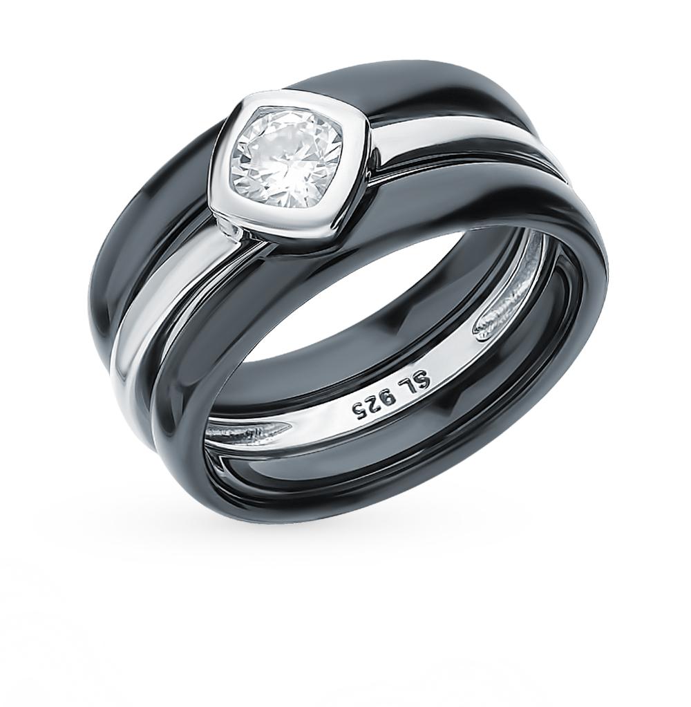Серебряное кольцо с керамикой и фианитом в Санкт-Петербурге