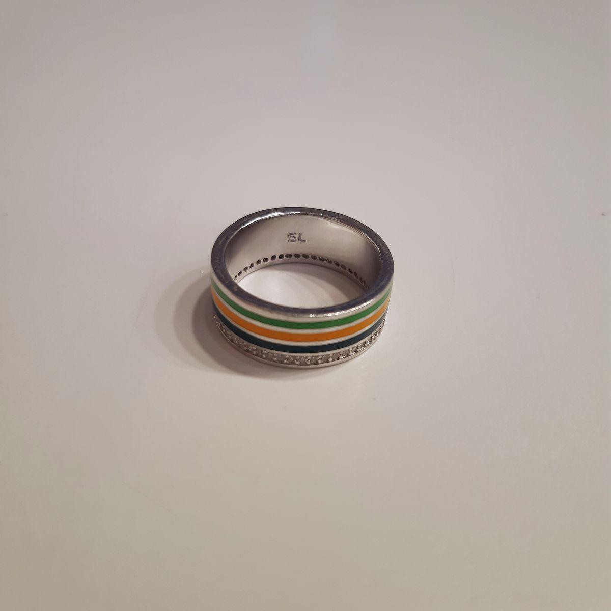Кольцо: серебро, фианиты, эмаль