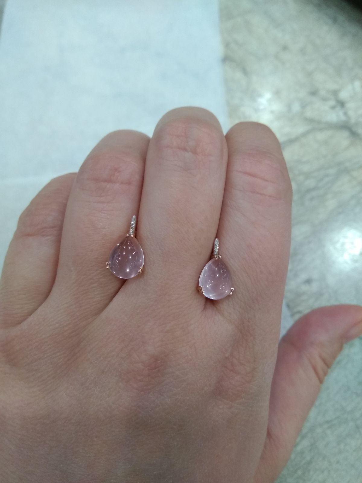 Серьги с розовым кварцем