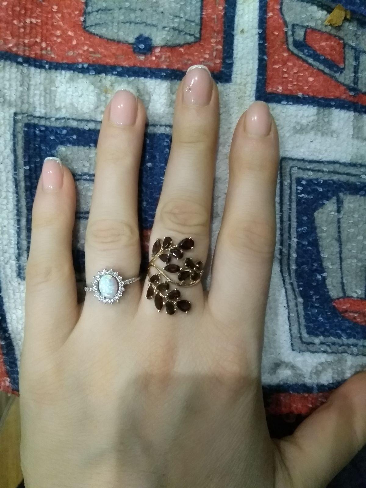 Кольцо с опалом и фианитами
