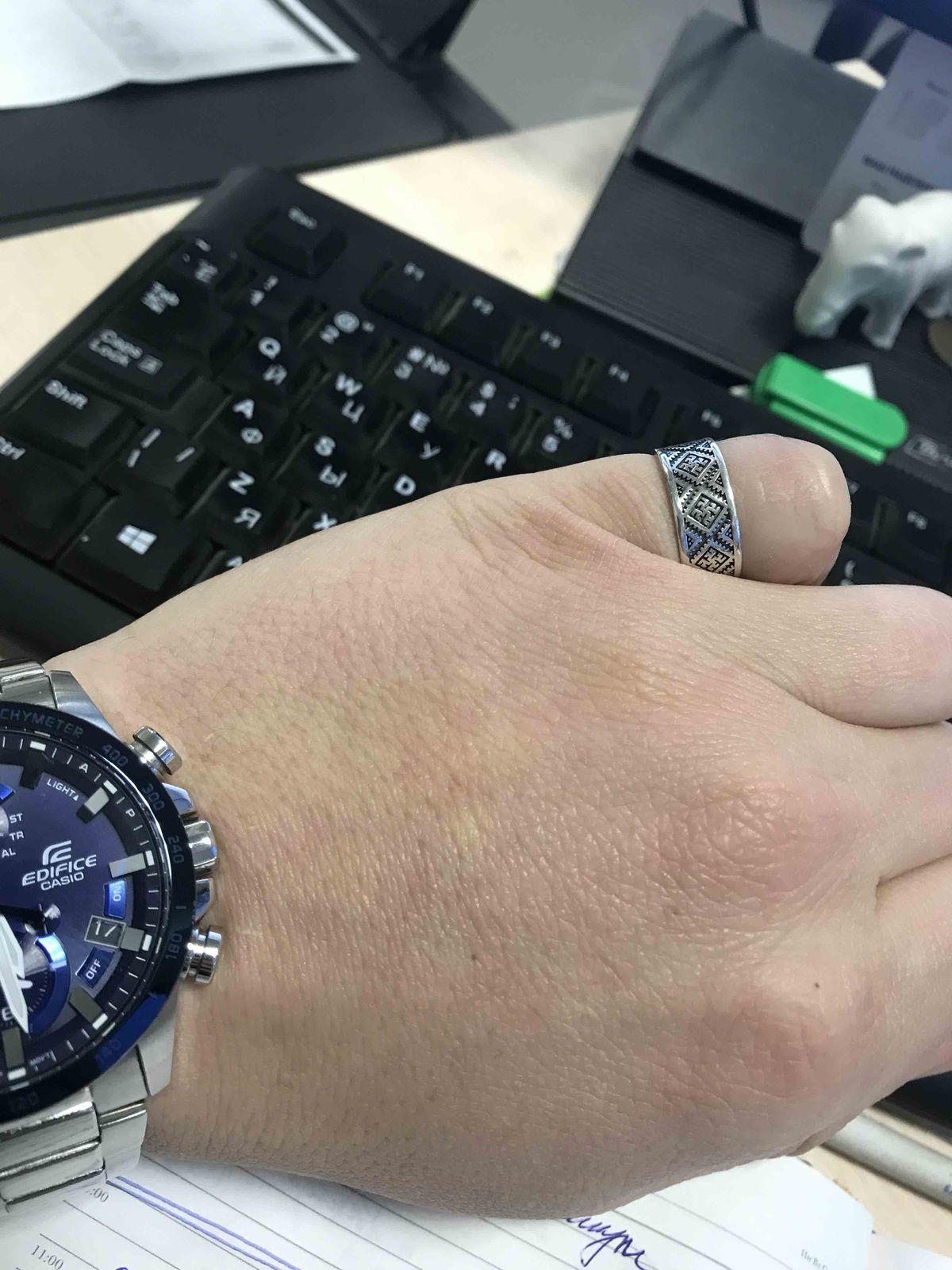 Отличное кольцо оберег «Папоротник»