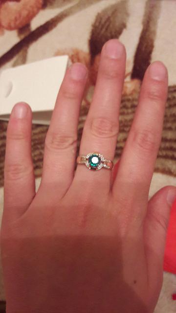 Кольцо с изумрудом и бриллиантом