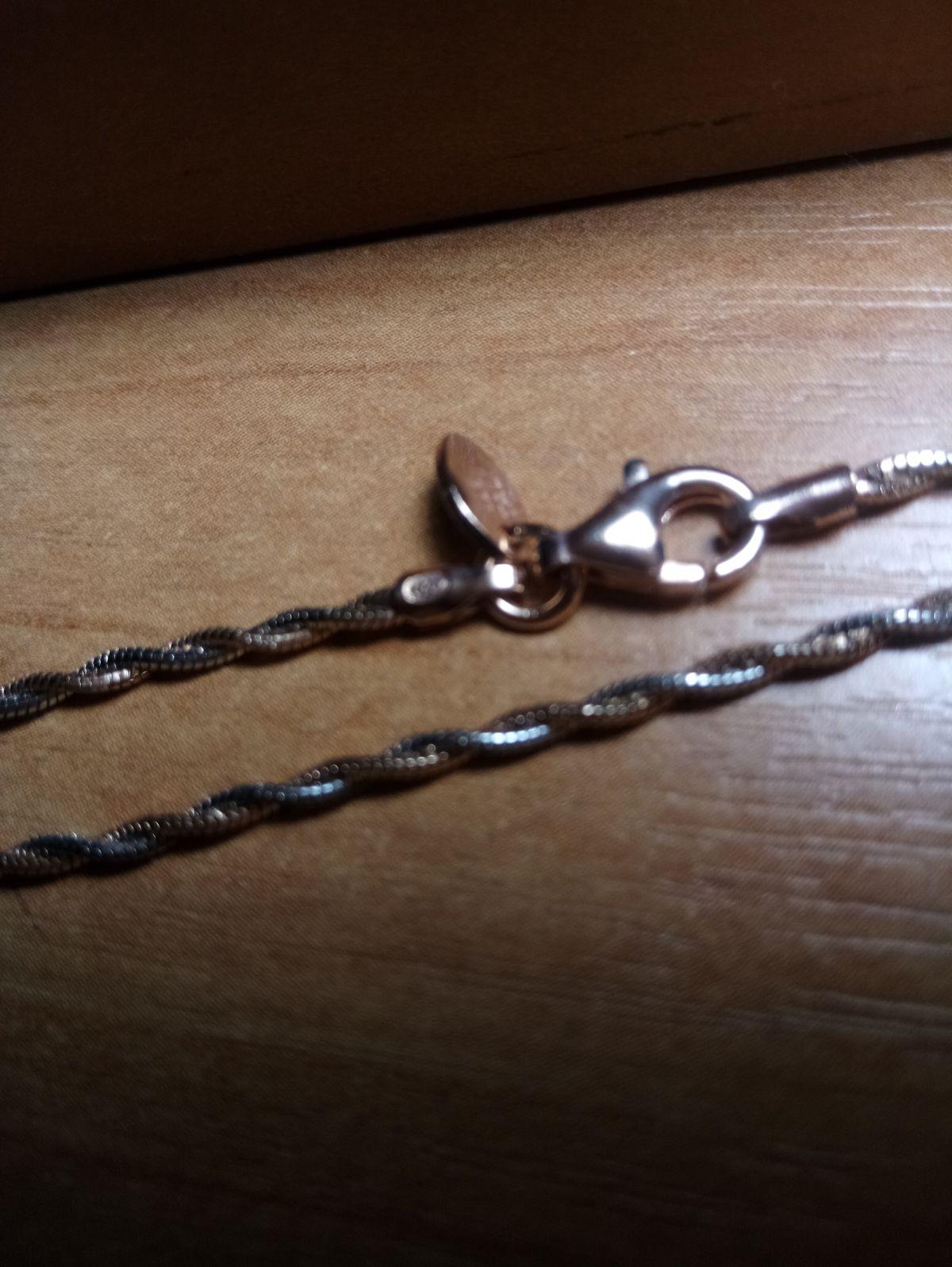 Цепь серебряная с позолотой 45 см