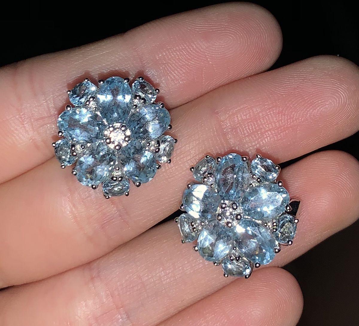 Серебряные серьги с топазами и фианитами, очень нежный и яркие