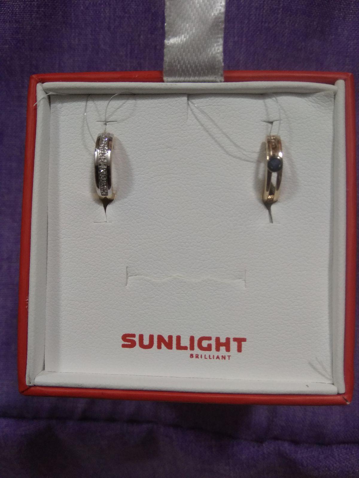 Двух сторонние сережки с сапфиром и бриллиантами