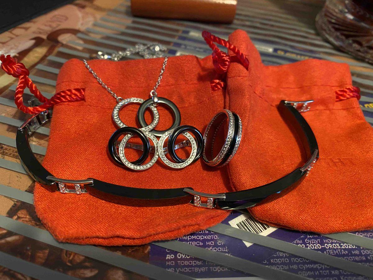 Комплект серьги, кольцо, браслет, кулон