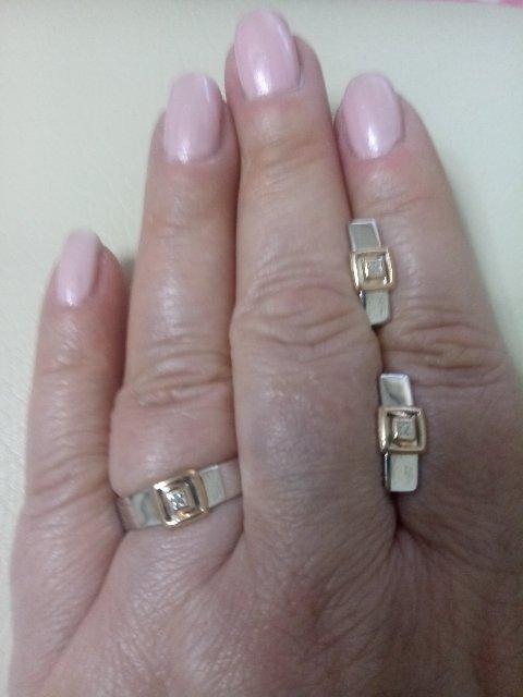 Кольцо и серьги коллекция Дуэт от Алькор