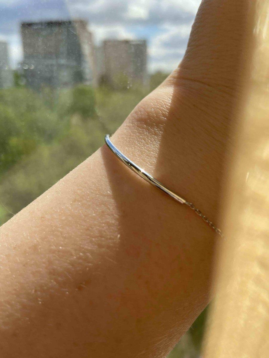 Тонкий серебрянный браслет
