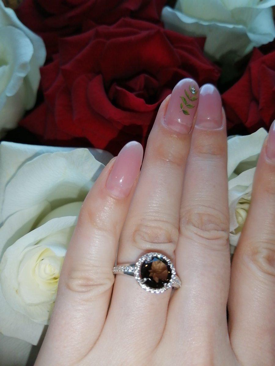 Кольцо с дымчатым кварцем