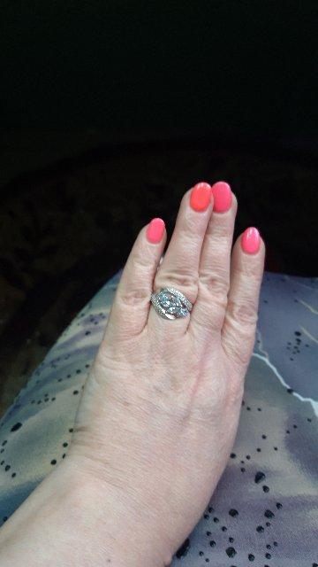 Кольцо серебряное, вставка топаз и фианит