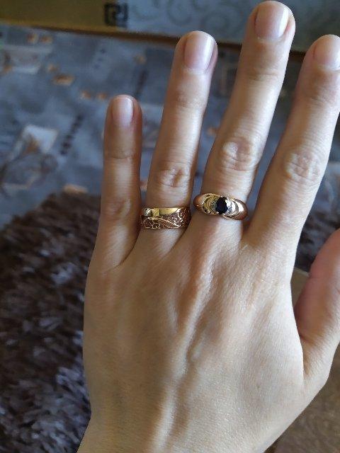 Кольцо с иск сапфиром