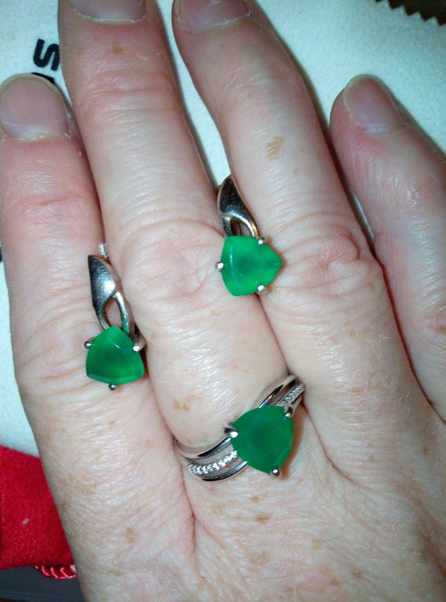 Серебро и зелёный агат