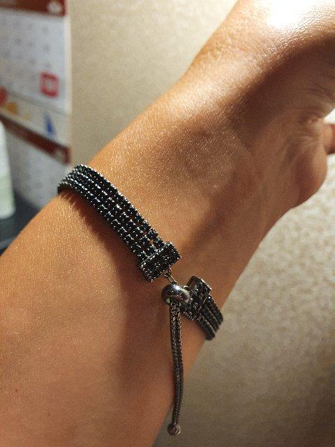 Браслет серебро с черными камнями