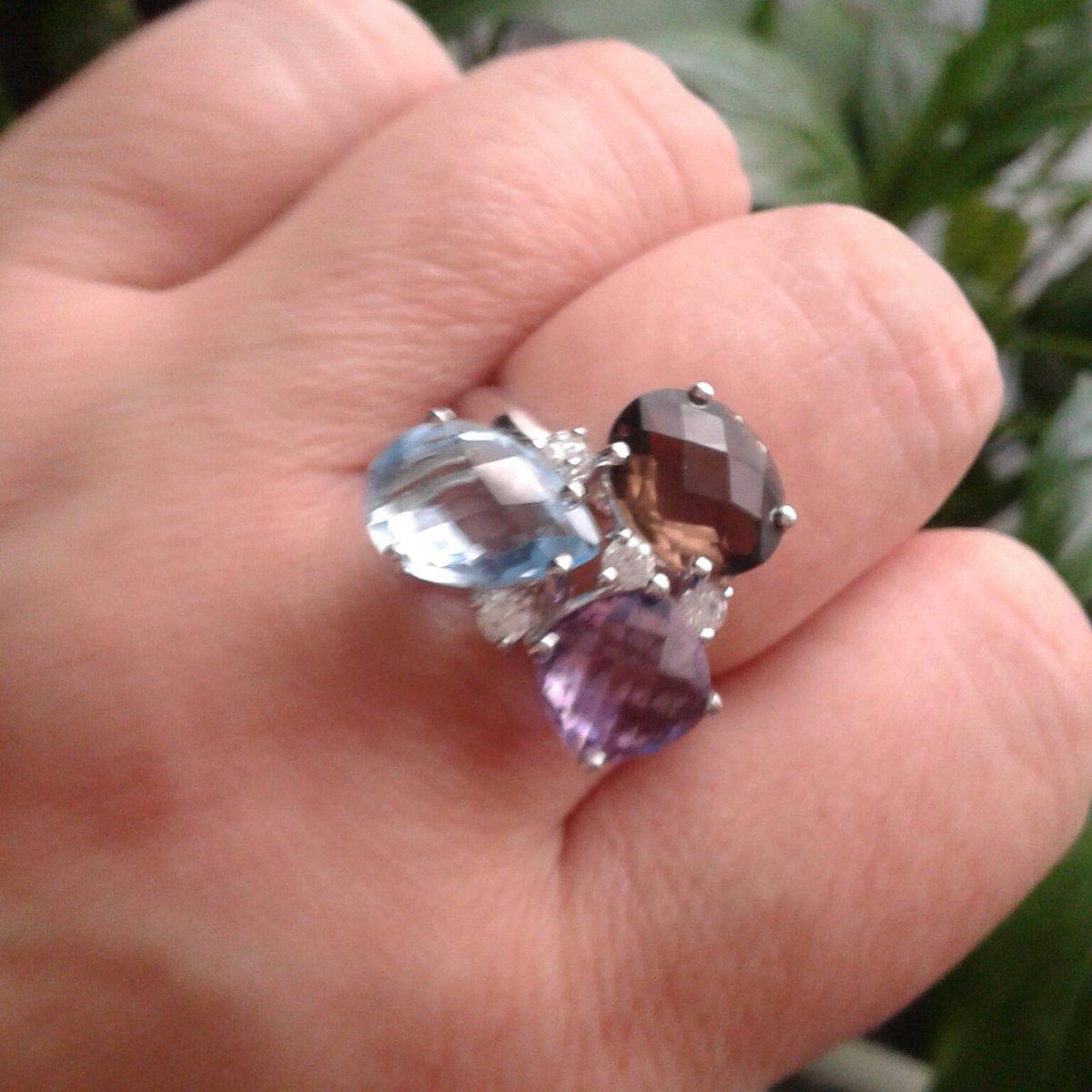 Кольцо из микс-камней