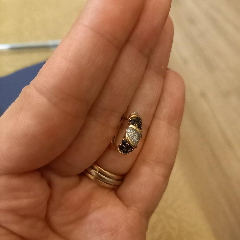 Золотые серьги с сапфировое и бриллиантами