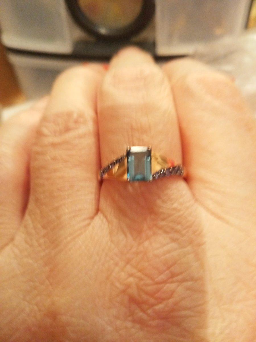 Кольцо с топазом синим